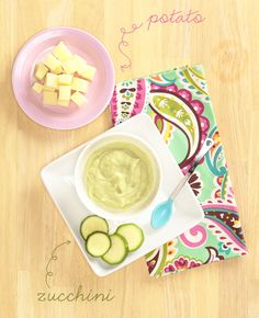 Zucchini Potato Puree - http://www.verabradley.com/blog/2013/03/26/pretty-delicious-baby-food/