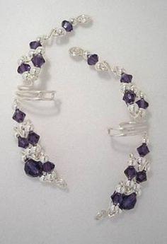 Purple Velvet Crystal & Silver Ear Wraps