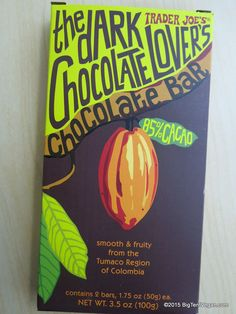 Trader Joe's Dark Chocolate Lover's Bar - aesthetic - fun funky hand treated typography gives a unique and approachable feel Dark Chocolate Bar, Chocolate Lovers, Chocolate Photos, Chocolate Factory, Chocolate Orange, Vegan Chocolate, Trader Joe's, Chocolates, Mama Blogger