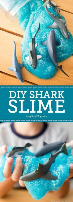 Perfect for summer play, or any day of the year - whip up this DIY Shark Slime that is safe and easy enough for your kids to make! - slime recipes - slime ideas - shark week crafts - shark activities - make your own slime - shark week activities Shark Week Crafts, Shark Craft, Shark Activities, Craft Activities For Kids, Craft Ideas, Preschool Centers, Birthday Activities, Camping Activities, Sensory Activities