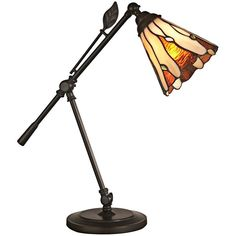 Tiffany Leaf Art Glass Adjustable Dale Tiffany Desk Lamp (1,000 CNY) ❤ liked on Polyvore featuring home, lighting, desk lamps, orange, dale tiffany lighting, dale tiffany lamps, glass shade lamp, art glass lighting and dale tiffany