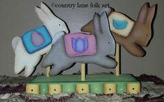 Hand Painted wooden bunnies, Easter, spring, on Etsy, $18.00