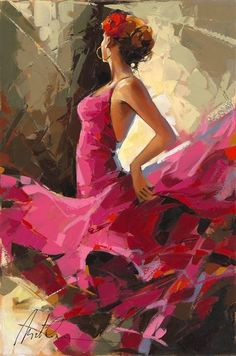 """Story Behind Anatoly Metlan's Flamenco Dancers """"Moments of Silence"""" Oil painting on canvas by Anatoly Metlan. - Park West Gallery""""Moments of Silence"""" Oil painting on canvas by Anatoly Metlan. Oil Painting Abstract, Painting & Drawing, Abstract Canvas, Watercolor Paintings, Modern Oil Painting, City Painting, Abstract Nature, Painting Gallery, Painting Canvas"""