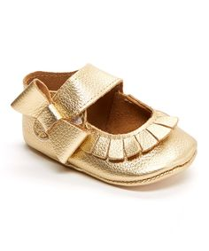 Look at this Mother's Love Gold Fringe Bow Leather Bootie on #zulily today!