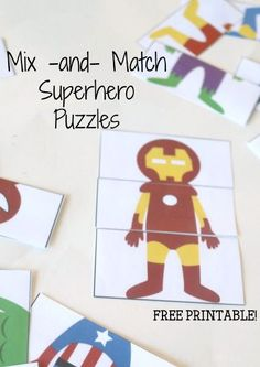 Free Printable Superhero Mix and Match Puzzles