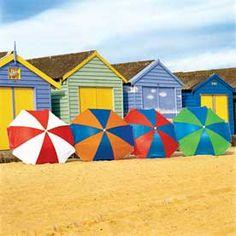 Coolaroo multi coloured beach umbrellas