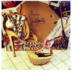Christian Louboutin Gold Spicy Heels