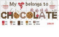 My heart belongs to chocolate - Free cross stitch chart or hama perler bead pattern