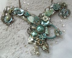 Blue Couture Necklace  Heavenly blue Victorian by HopscotchCouture, $256.00