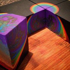Neon rainbow faux column swirl by Kangaroo Apple Soap Studio