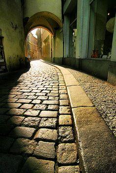Prague. Mystical cobblestone streets.