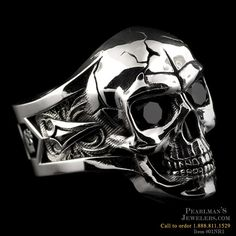 NightRider Silver Skull ring with black onyx eyes from Pearlmans Jewelers