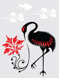 Japanese Crane, Japanese Art, Crane Tattoo, Birthday Card Design, Japanese Painting, Bird Art, Asian Art, Artsy Fartsy, Pattern Design