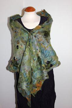 nuno Felted wool scarf shawl slate blue green gold by Angelab5705