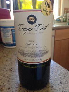 2008 Cougar Crest Malbec - Walla Walla Valley - Dark purplish red in color. Intensely fruity on the nose with blackberries, plums, other dark fruits (but not really forest fruits). Dry and medium bodied. Fruity, a bit jammy with some spicy notes. This wine really wasn't anything special. BP: Skip at $35