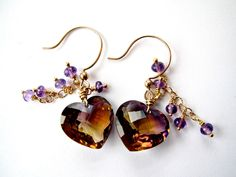 Gorgeous bolivianite Heart And Amethyst One Of A Kind Earrings.  via Etsy.