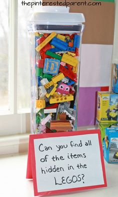 Can you find all of the items hidden in the LEgos. Party ideas for a Lego themed birthday party for kids.