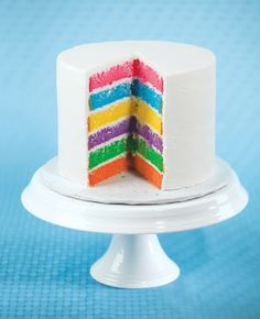 SWEET TREAT With food coloring and three boxed white cake mixes, bake six round cakes. Layer them with white frosting in the middle and cover the outside. Make different-colored ones using the boxed cake mixes and food coloring. Rainbow Parties, Rainbow Birthday Party, First Birthday Parties, First Birthdays, Birthday Ideas, Birthday Cakes, Colorful Birthday, Rainbow Food, Rainbow Cakes