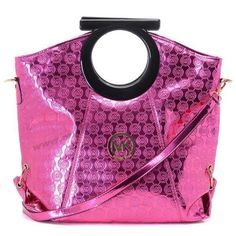 Michael Kors Grayson Japanned Leather Ring Totes Rose Red