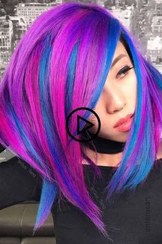 Hair Color 2018 Neon Highlights To Shine Brighter Than Stars ❤️See what a deep and bright look you can get with purple highlights! Purple balayage, blue ombre, and many cool hair color ideas are here! Blue And Pink Hair, Bright Pink Hair, Brown Ombre Hair, Pastel Hair, Green Hair, Hair Color 2017, Hair Color Pink, Bangs With Medium Hair, Medium Hair Styles