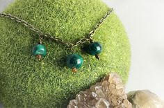 Excited to share the latest addition to my #etsy shop: Malachite layering necklace, tigers eye, necklace for layering, delicate pendant necklace, healing crystal and stone Jewelry, green
