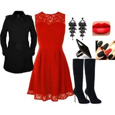 Red lace dress and black trench coat with thigh high suede boots LOVE IT!