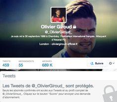 Olivier Giroud blinde son compte Twitter - http://www.actusports.fr/90533/olivier-giroud-blinde-son-compte-twitter/