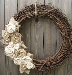Fall Burlap Wreath add a white B
