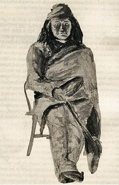 (1) Juh (c1825-1894) - Great Apache warrior. Principal chief of the Nednhi Chiricahua Apache (1870s). Described as a large man, 6'/225 lbs). Went to many wars with Mangas Coloradas, Cochise and was close to Geronimo.  Married Ishton, Geronimo's sister. 3 sons. Juh would have planned the attack in which Lt. Cushing was killed. Cushing relentlessly pursued the Apaches... Juh died in 1883 following a horse fall (heart attack?). - Painting by Mary P.G. Devereux, 1881.