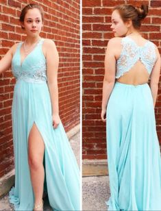 Chiffon Lace Appliqued Prom Dress,Open Back Formal Dress With Slit,Fashion Prom Dress,Sexy Party Dress,Custom Made Evening Dress Flowy Prom Dresses, Lace Back Dresses, Senior Prom Dresses, Classy Prom Dresses, Gorgeous Prom Dresses, Chiffon Dress Long, Unique Prom Dresses, Formal Evening Dresses, Dress Formal