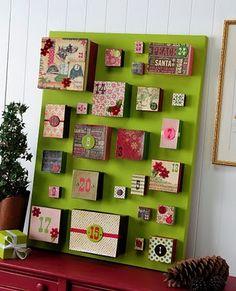 Advent calendar, boxes, paper, large canvas, paint, modge podge.