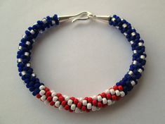 Beaded Bracelet, Red White and Blue Bracelet, Kumihimo Bracelet, American Flag Bracelet, Beaded Kumihimo Bracelet, Patriotic Jewelry
