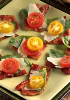 """Balsamic-Laced Bacon """"Bruschetta"""" – In this hearty take on bruschetta, ditch the bread altogether and serve the balsamic-laced topping directly on the bacon."""