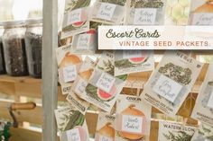 Vintage Seed Packets as escort cards for weddings | image via eco-beautifulweddings.com ... see more spring wedding tips at http://www.brendasweddingblog.com/blogs/2014/4/25/top-5-dcor-tips-for-spring-weddings-from-josh-tierney