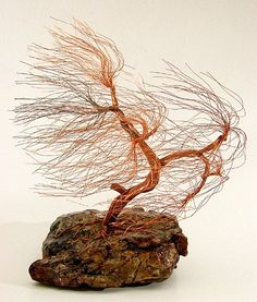 windswept copper wire tree sculpture - 1441 - FREE SHIPPING