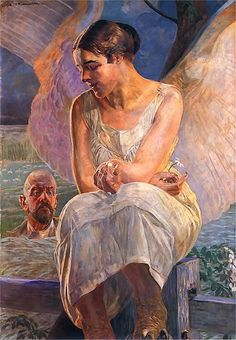 intermezzo - Jacek Malczewski Mucha Artist, Chinese Emperor, Alphonse Mucha, Art Database, Vintage Artwork, Triptych, Contemporary Paintings, Art Nouveau, Death