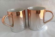 Set of 2 STARBUCKS 2013 Ceramic Gradient Metallic Rose Gold Mug, 10 fl oz #Starbucks