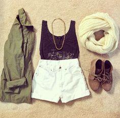 green oversized jacket, high waisted shorts, scarf