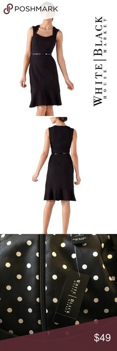 "🆕 WHBM Seasonless Flounce Dress Shell: 62% Polyester, 33% Rayon, 5% Spandex. Lining: 95% Polyester, 5% Spandex. Machine wash, cold; tumble dry low. Imported. Classic sheath has fitted bodice and flounced pencil skirt. Sleeveless, with sculptured neckline and raglan shoulder. Darted bodice. Contoured pieced panels at the waist; thread loops. Polka dot thread-tacked lining, with a flounce in silky charmeuse. Belt not included. Underarm across 17.5"". Length 39"". Brand new with tag.retail price…"
