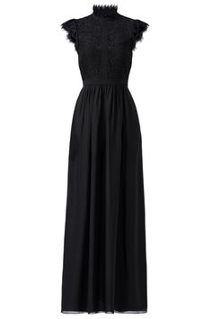 Black Lace Paneled Gown by Rachel Zoe for $90 - $105   Rent the Runway