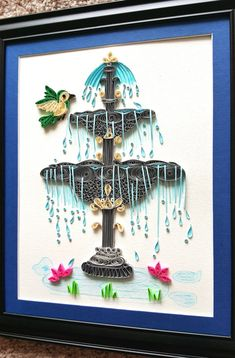 Water Fountain | indoor fountain | House warming gift | Bird art | garden landscape flowers wall home decor wall art | Nature art print This quilled Fountain is a beautiful Home/Room decor. If you want something colorful and flowery in your Patio or Garden area, this will be a perfect