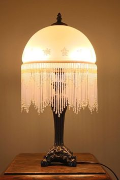 Unique Frosted Glass Lamp With Beaded Fringe   Vintage Bohemian Shabby Chic