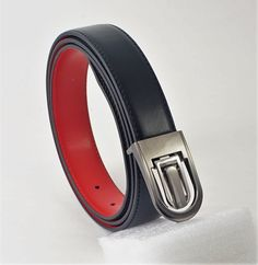 cce1f6bfbc26 Extra Off Coupon So Cheap Men 1 Black Red reversible silver tone channel  buckle 44 long