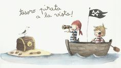 ¡Tesoro pirata a la vista! Children's Book Illustration, Watercolor Illustration, Painting For Kids, Art For Kids, Boys Bedroom Paint, The Pirates, Christmas Drawing, Nautical Nursery, Illustrations And Posters