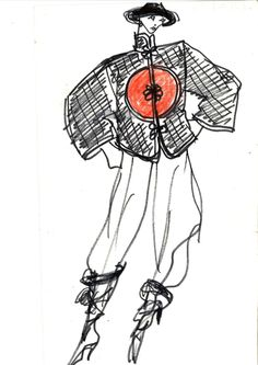 Yves Saint Laurent, Chinese ensemble sketch, Fall-Winter 1977-78