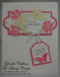 The frame is from the Apothecary Accents Framelits die #127003 $24.95. To get the mat you cut a piece of card stock 1 3/4″ x 3 1/4″ and then you punch out (2) 1″ circles for the ends.