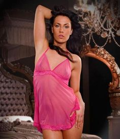 Hot Chemise with Open Back, Hot Sleepwear, LINGERIE