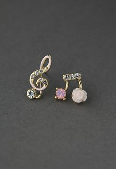 Music Notes Floral Earrings