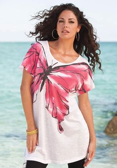 Roamans Plus Size Butterfly Tunic Hand Painted Dress, Hand Painted Fabric, Painted Clothes, Dress Painting, T Shirt Painting, Fabric Painting, Sharpie Shirts, Umgestaltete Shirts, Fabric Paint Shirt