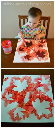 Fall Crafts for Kids - Fall Leaf PaintingYou can find Herbst basteln mit kindern and more on our website.Fall Crafts for Kids - Fall Leaf Painting Fall Crafts For Kids, Crafts To Do, Holiday Crafts, Kids Diy, Children Crafts, Crafty Kids, Fall Crafts For Preschoolers, Baby Fall Crafts, Fall Toddler Crafts